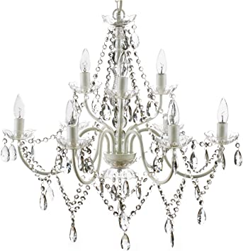 9 Light Crystal White Hardwire Flush Mount Chandelier H26 Xw27 White Metal Frame With Clear Glass Stem And Clear Acrylic Crystals Beads That Sparkle Just Like Glass Amazon Com