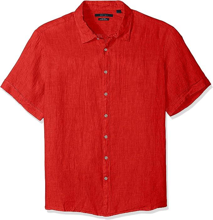 Perry Ellis Short Sleeve Solid Linen Shirt Camisa con Cuello Abotonado para Hombre: Amazon.es: Ropa y accesorios