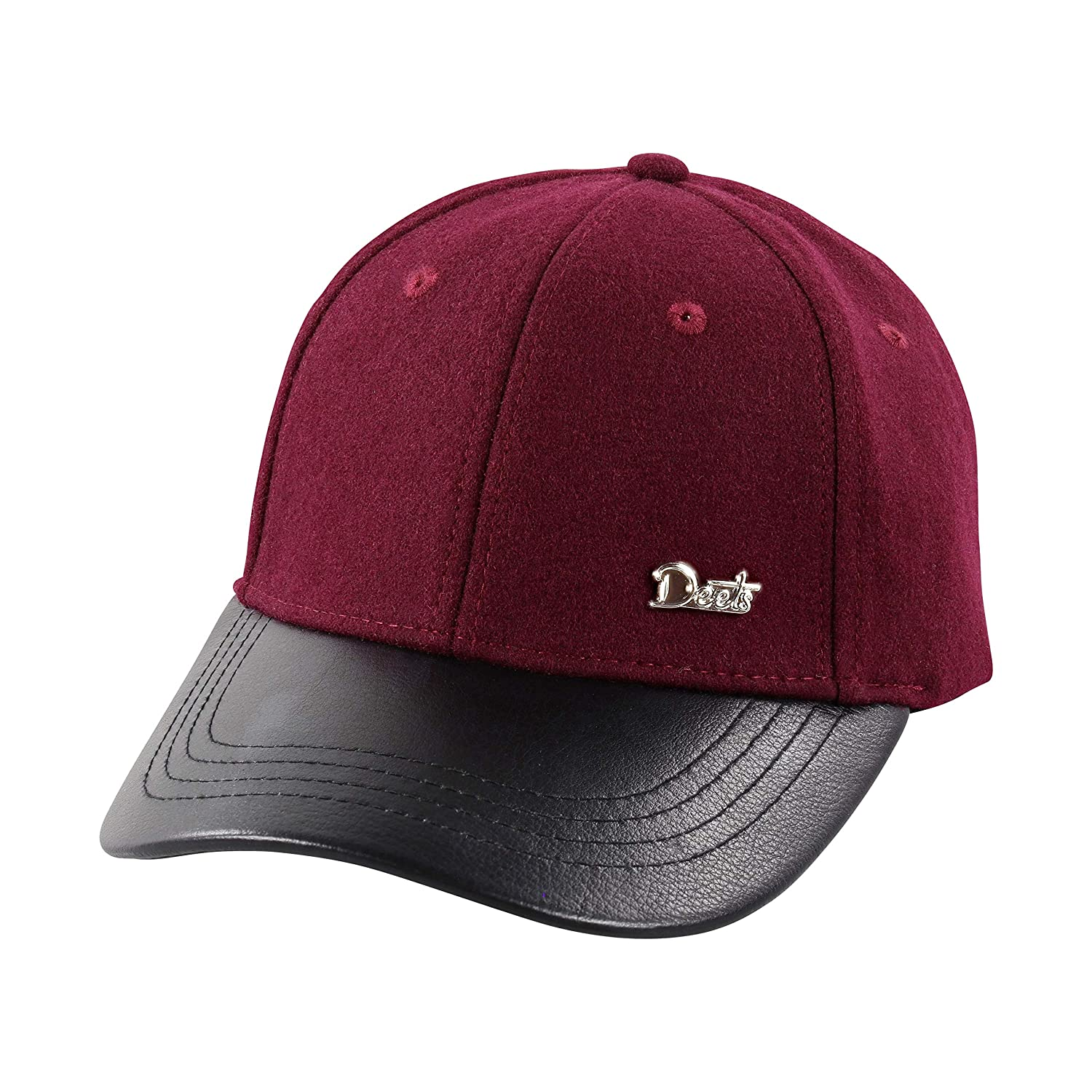 Amazon.com  Deets Fashion Leather   Cashmere Baseball Cap Unisex for Men  and Women Comfortable Luxury Hat  Clothing c44929faa94