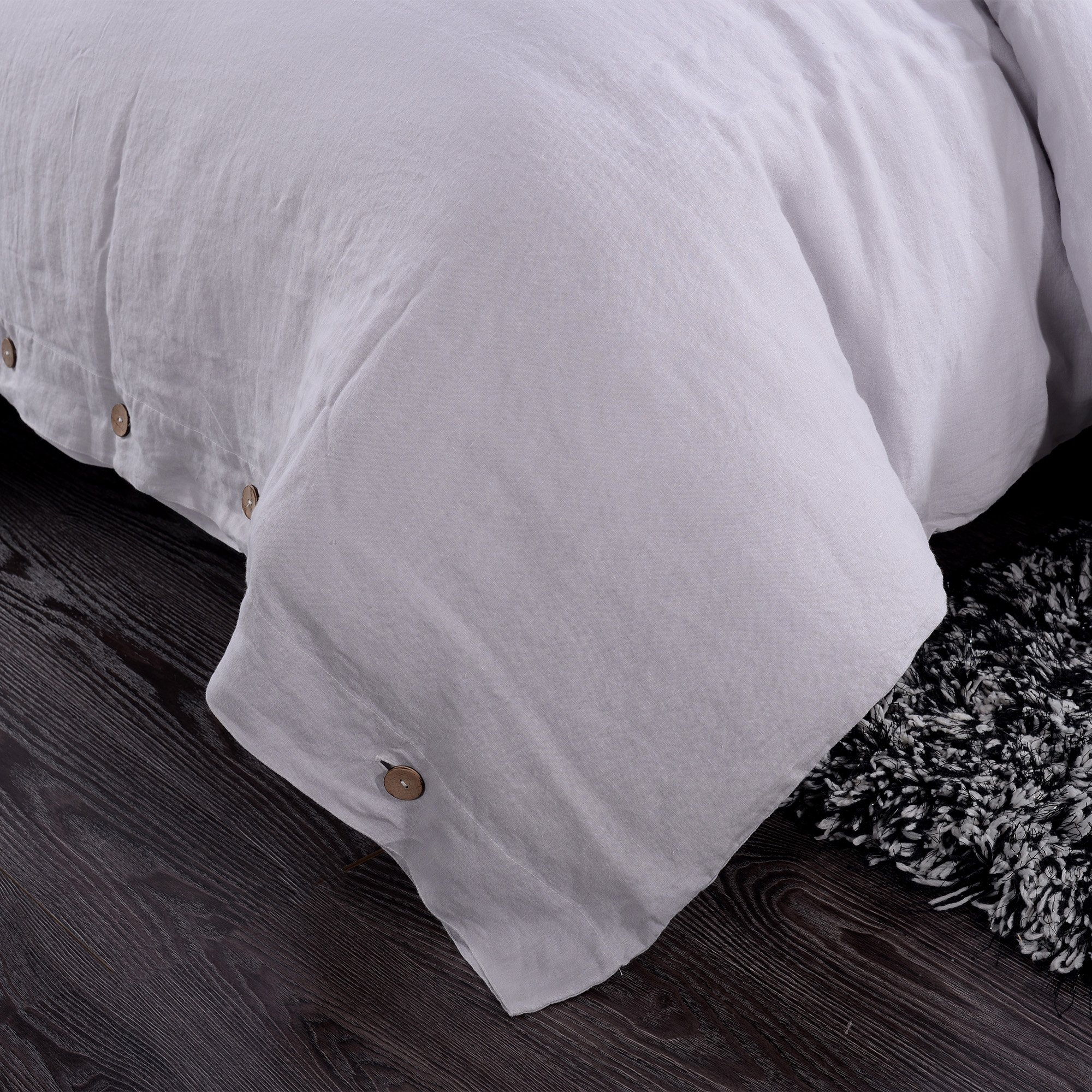 Simple&Opulence 100% Washed Linen Coconut Wood Deduction Solid Grey Bedding Set with 1 Duvet Cover 1 Pillowcase (Twin, Light Grey) by Simple&Opulence (Image #2)