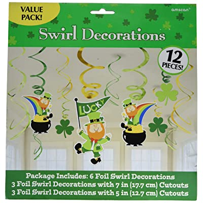 Amscan St. Patrick's Day Green Foil Swirls, Value Pack, 12 Ct. | Party Decoration: Kitchen & Dining