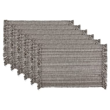 DII Tonal Fringe Placemat, Set of 6, Variegated Gray - Perfect for Fall, Thanksgiving, Dinner Parties, Weddings and Everyday Use