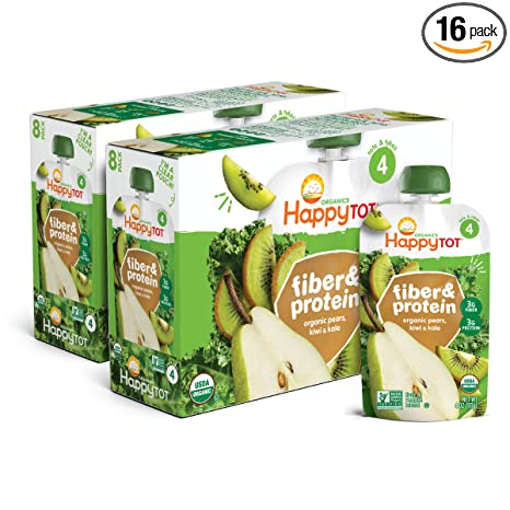 HappyTOT Happy Family Tot Organic Stage 4 Fiber & Protein, Pear Kiwi Kale, 4 Ounce (Pack of 16)