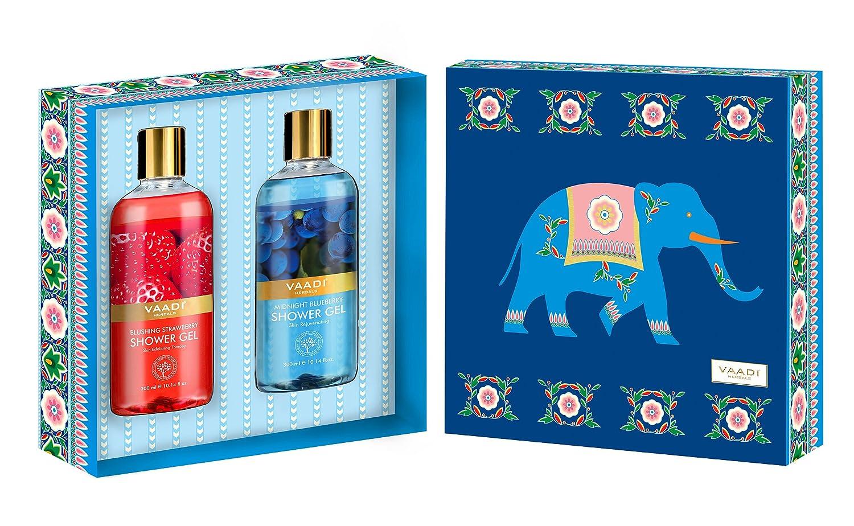 Shower Gel Gift Set – Sulfate-Free – Herbal Body Wash – Vaadi Herbals Very Berry Shower Gels Gift Box – Pack of 2 X 10.14 fl.oz