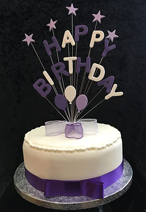 Happy Birthday Purple Lilac And White Cake Topper With Stars And