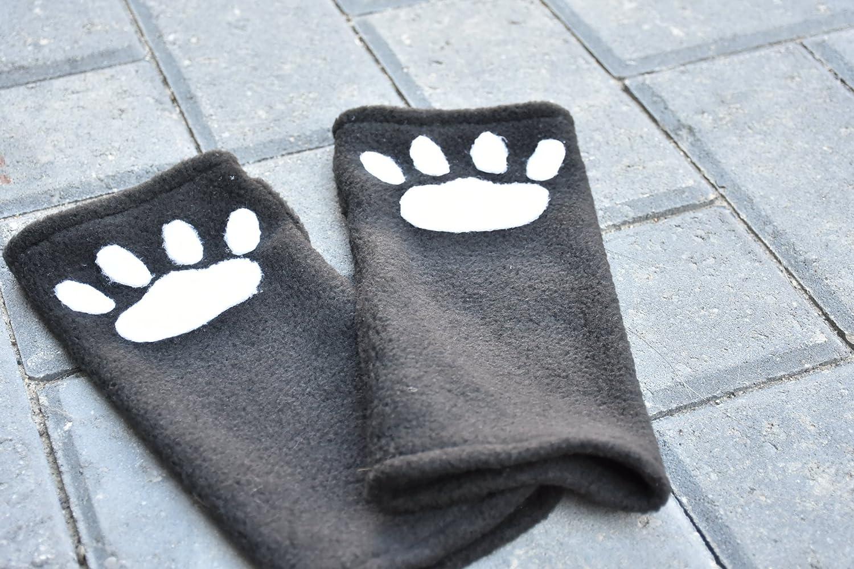 Paw Gloves - Fingerless Wrist Warmers - Wrist Paw Warmers - Arm Warmers - Fleece Arm Warmers - Paw Arm Gloves - Cat Paw Gloves - Meow Gloves - Christmas Gift