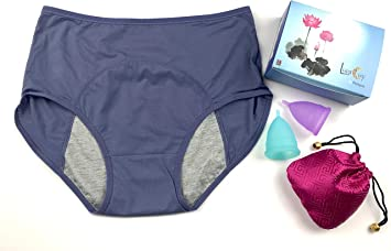 Luna Copa Menstrual, período de 1 taza con 1 bolsa, S & L 1 Panties Gift Box Set, 1