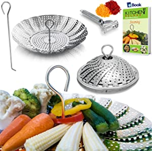 PREMIUM Veggie Steamer Basket - Large - BEST Bundle - Fits Instant Pot Pressure Cooker 5, 6 Qt & 8 Quart - 100% Stainless Steel - BONUS Accessories - Safety Tool + eBook + Peeler - Insert For Instapot