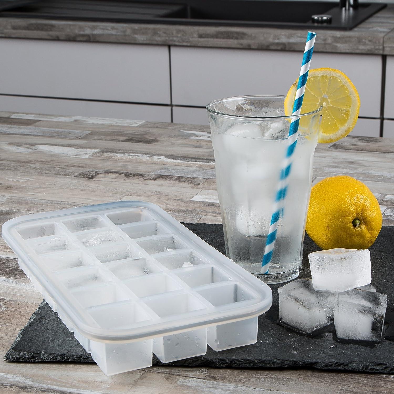27.8 x 14.2 x 3.6 cm Blanco Levivo Molde de silicona para 18 cubitos de hielo
