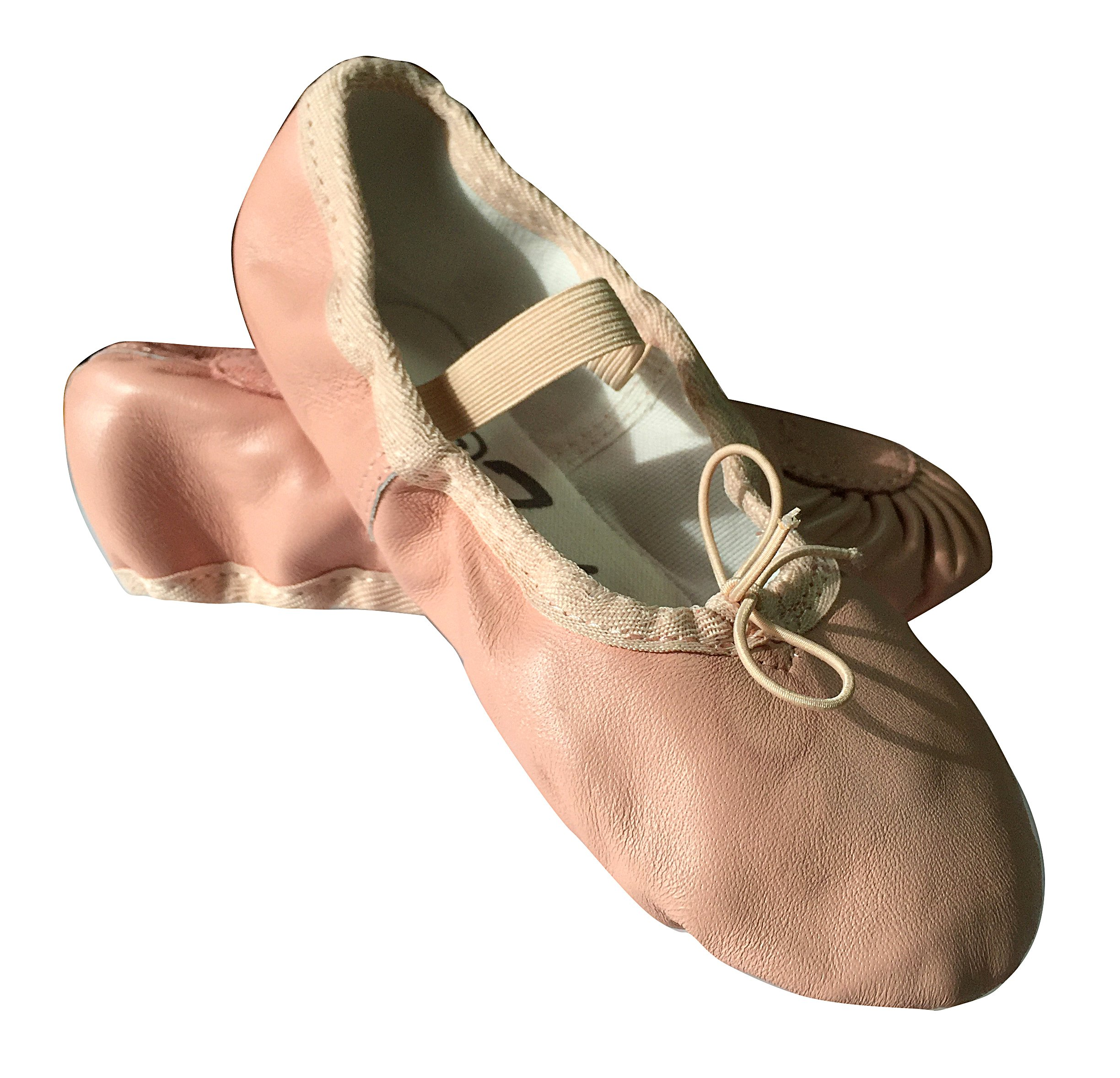 Girl's Leather Ballet Slippers, Ballet Shoes. Free Gift Bag. (1 M US Little Kid, Pink)