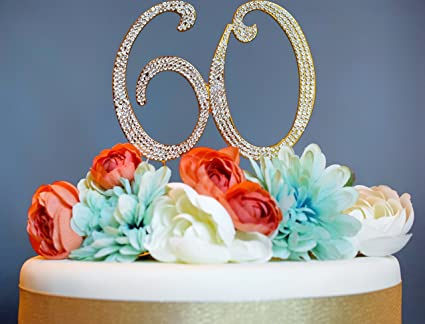 60 GOLD Cake Topper   Premium Sparkly Crystal Rhinestones   60th Birthday or Anniversary Party Decoration & Amazon.com: 60 GOLD Cake Topper   Premium Sparkly Crystal ...