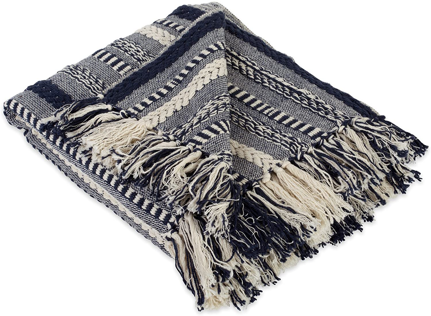 """DII Farmhouse Cotton Stripe Blanket Throw with Fringe For Chair, Couch, Picnic, Camping, Beach, & Everyday Use , 50 x 60"""" - Braided Stripe Navy"""