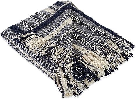 Navy Sofa Throw Fringed Aztec Throw Blanket Boho Throw Navy Throw Blanket Navy Bed Throw Large Throw Blanket Navy Blankets /& Throws