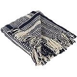 DII Farmhouse Cotton Stripe Blanket Braided Stripe Navy