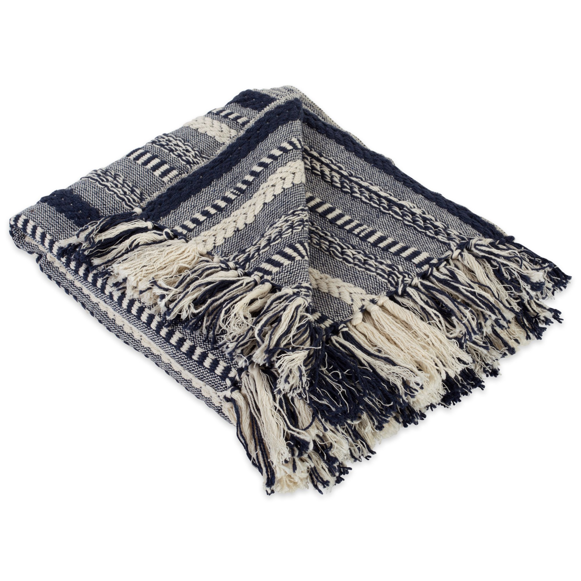 DII Farmhouse Cotton Stripe Blanket Throw with Fringe For Chair, Couch, Picnic, Camping, Beach, Everyday Use, 50 x 60 - Braided Stripe Navy
