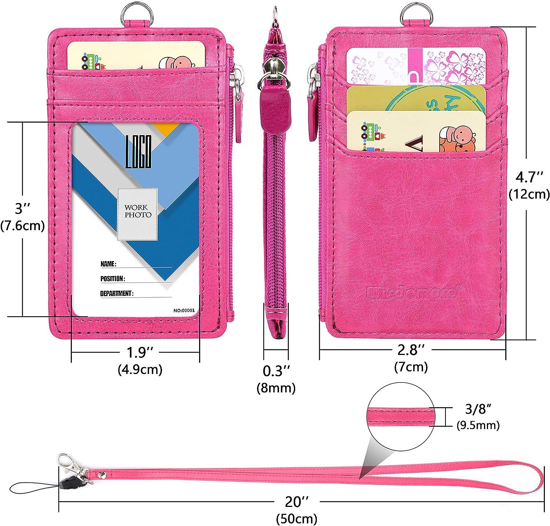 4/slot per schede Porta badge con zip tasca con cerniera a 1/e 1/pezzo 50,8/cm PU cordino//cinghia Vertical Rose Gold Wisdompro/® 2-sided Vertical Style PU porta badge con 1/finestra ID