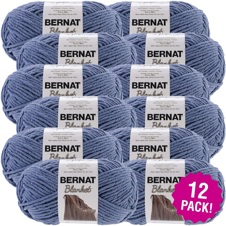 Bernat 99634 Blanket Big Ball Yarn-Country Blue, Multipack of 12, Pack