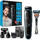 Braun MGK5280 9 en 1 - Máquina recortadora de barba, set de depilación corporal y cortapelos para hombre, color negro…