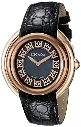 2ce7efeea032 Image Unavailable. Image not available for. Colour: Escada Women's  IWW-E2460146 Ivory Analog Display Swiss Quartz Black Watch