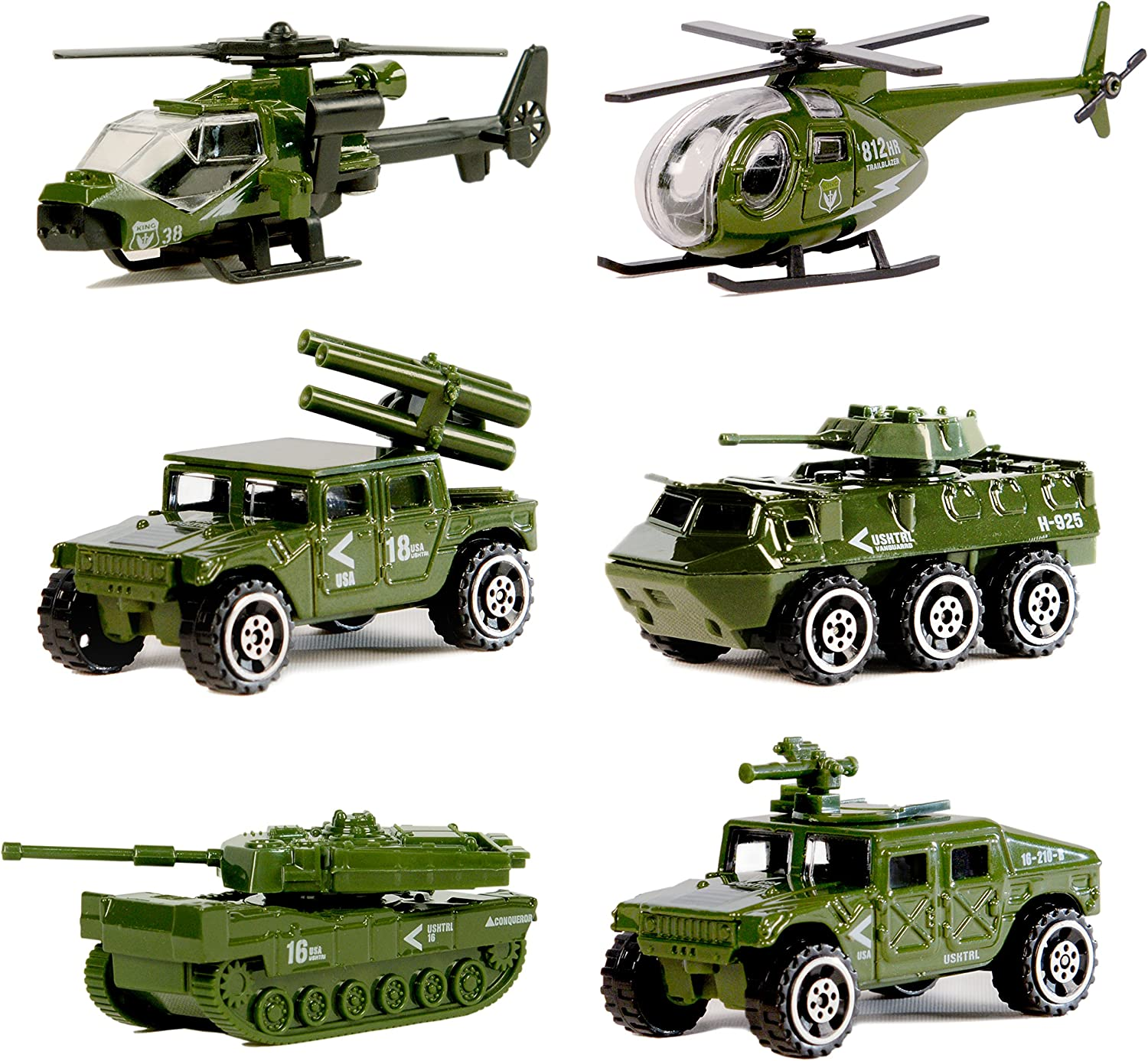 Die-cast Military Vehicles,6 Pack Assorted Alloy Metal Army Vehicle Models Car Toys,Original Color Mini Army Toy Tank,Jeep,Panzer,Anti-Air Vehicle,Helicopter Playset for Kids Toddlers Boys