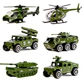 Die-cast Military Vehicles,6 Pack Assorted Alloy Metal Army Vehicle Models Car Toys,Mini Army Toy Tank,Jeep,Panzer,Anti-Air Vehicle,Attack Helicopter,Scout Helicopter Playset for Kids Toddlers Boys