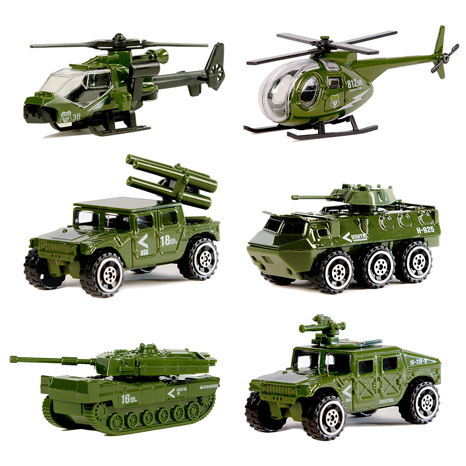 Die-cast Military Vehicles, 6 Pack Assorted Alloy Metal Army Vehicle Models Car Toys, Original Color Mini Army Toy Tank, Jeep, Panzer, Anti-Air Vehicle, Helicopter Playset for Kids Toddlers Boys