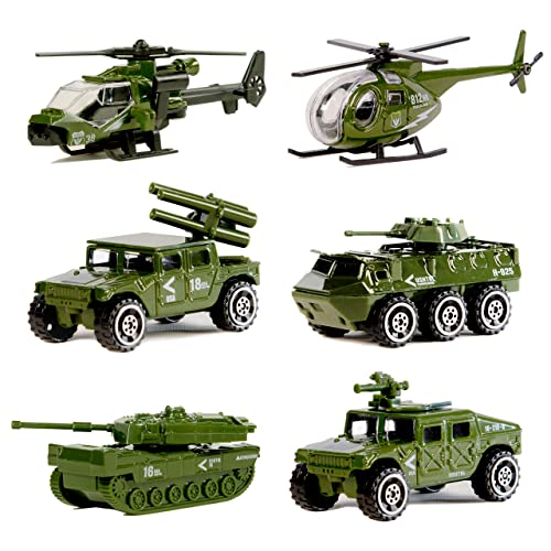 Die-cast Metal Military Vehicles Playset,6 Pack Assorted Army Vehicle Alloy Models Car Toys,Original Color Mini Army Toy Tank,Jeep,Panzer,Anti-Air Vehicle,Helicopter for Kids Toddlers Boys