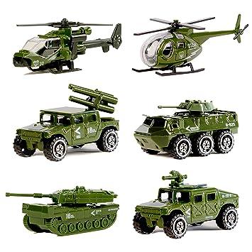 6pcs de Juguetes de Vehículos Militares Moldeado a Presión de Aleación Surtida, Tanque Militar, Jeep, Armadura, Vehículo Antiaéreo, Helicóptero de ...