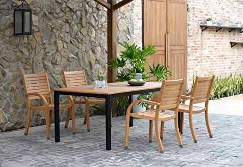 Amazonia Spiaggia 5 Piece Extendable Patio Dining Set | Teak Finish and Stackable Chairs| Durable and Ideal