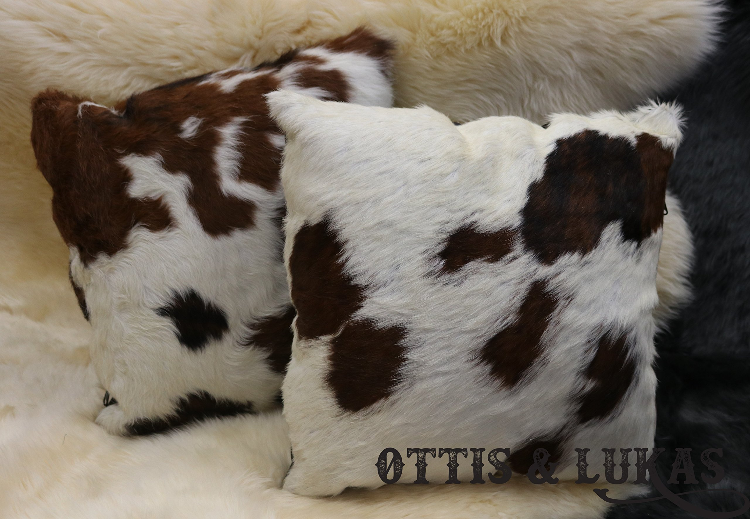Set of two Cowhide Throw Pillows Animal Skin - Polyester Fiberfill Include 16'' x 16''