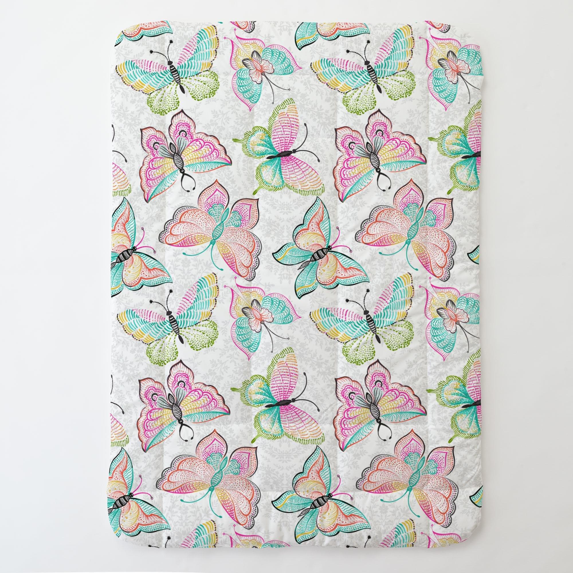 Carousel Designs Bright Damask Butterflies Toddler Bed Comforter