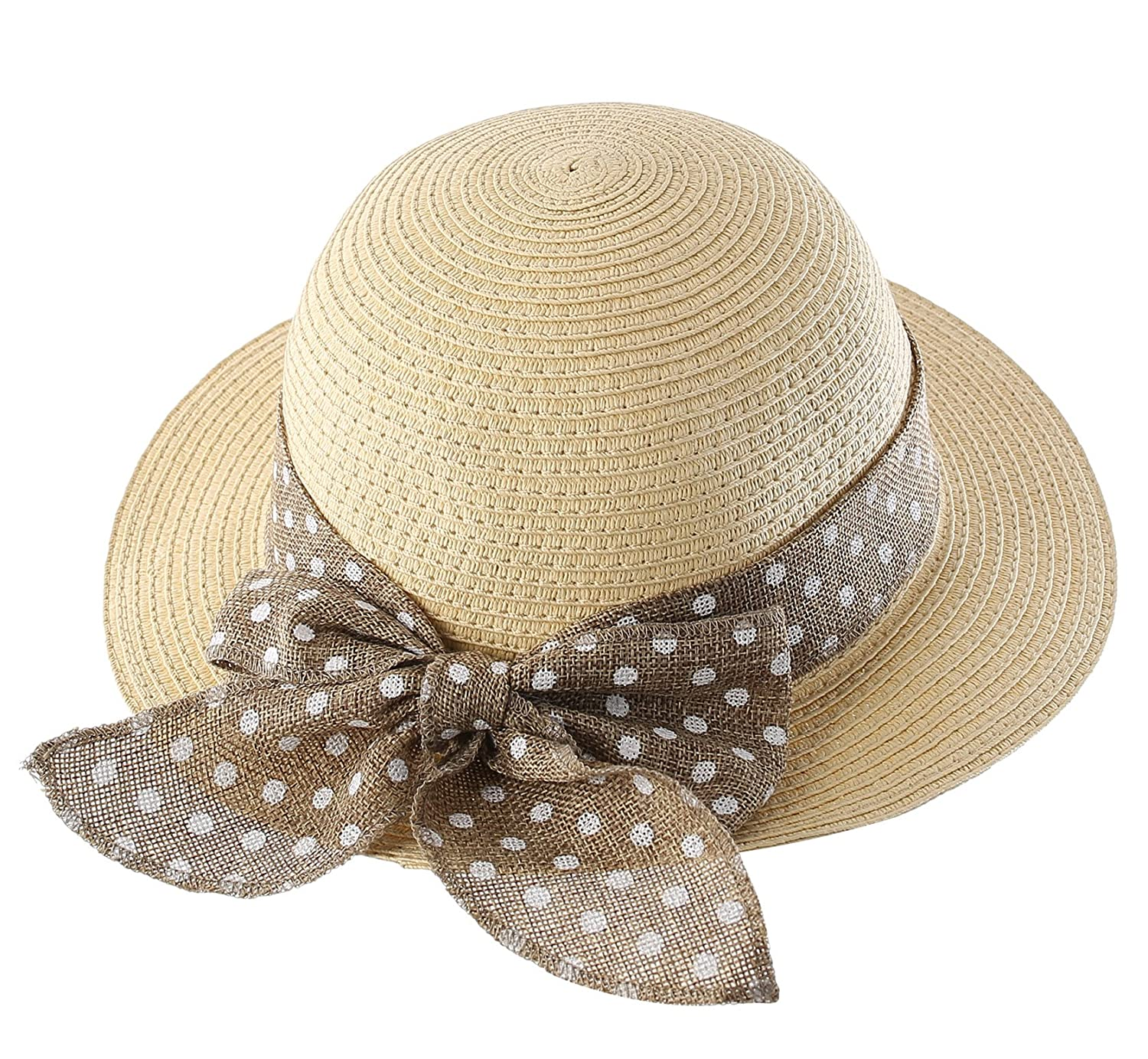 5b7235992359f Amazon.com  Connectyle Kids Summer Straw Hat Bowknot Beach Sun Protection  Hats for Girls  Clothing