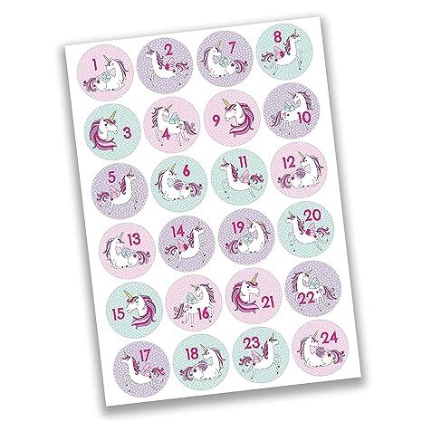 Papierdrachen 24 Adventskalender Zahlen Aufkleber Einhorn Nr 28 Sticker 4 Cm Zum Basteln Und Dekorieren