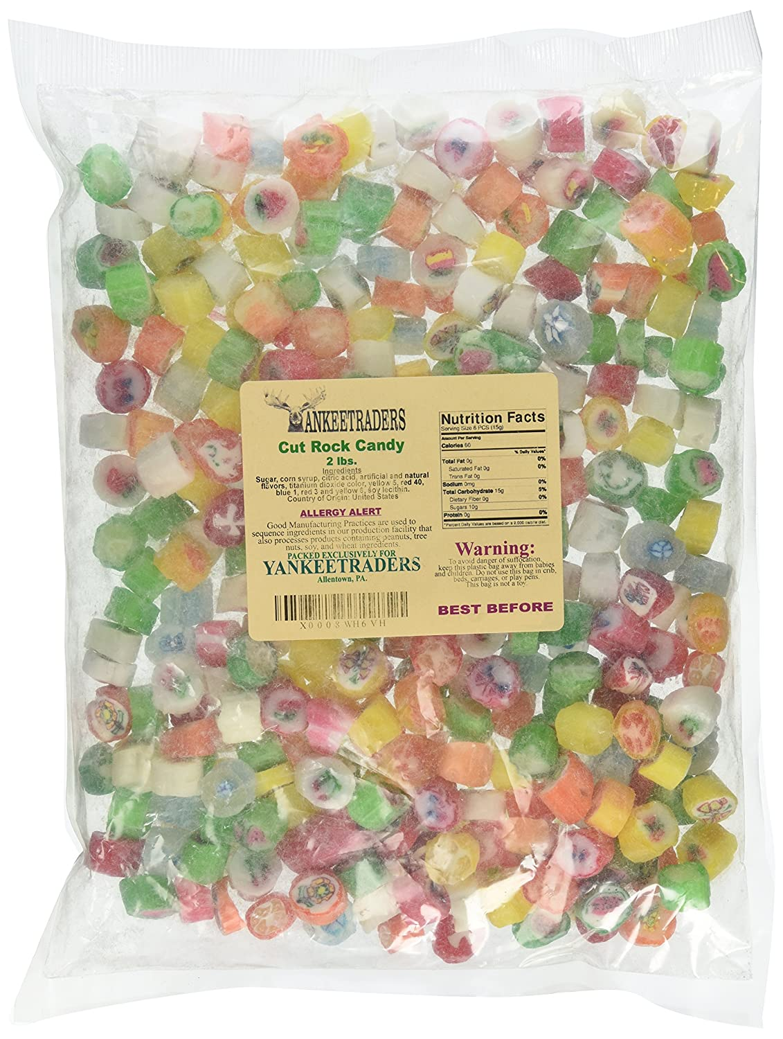 Amazon.com : Holiday Cut Rock Candy, 2 LBS : Hard Candy : Grocery ...