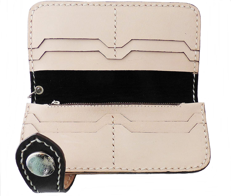 be3a6365e4900 AW-Collection Brieftasche Wallet Geldbörse Geldbeutel echt Leder punziert  mit Kette Indianer Biker Trucker 75N (Natur)  Amazon.de  Bekleidung