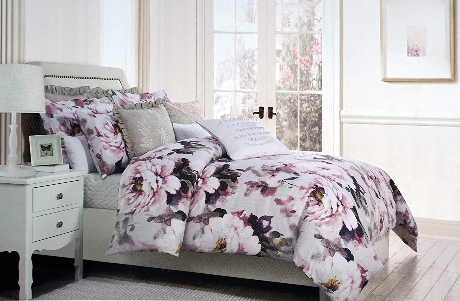 KING SIZE BED ENGLISH ROSE LILAC DUVET COVER FLORAL BORDER GREEN PURPLE WHITE