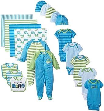 96159a26ca0cd Amazon.com: Gerber Baby-Boys Newborn Seriously Cute 19 Piece Gift Bundle Set,  Blue, 0-3 Months: Clothing