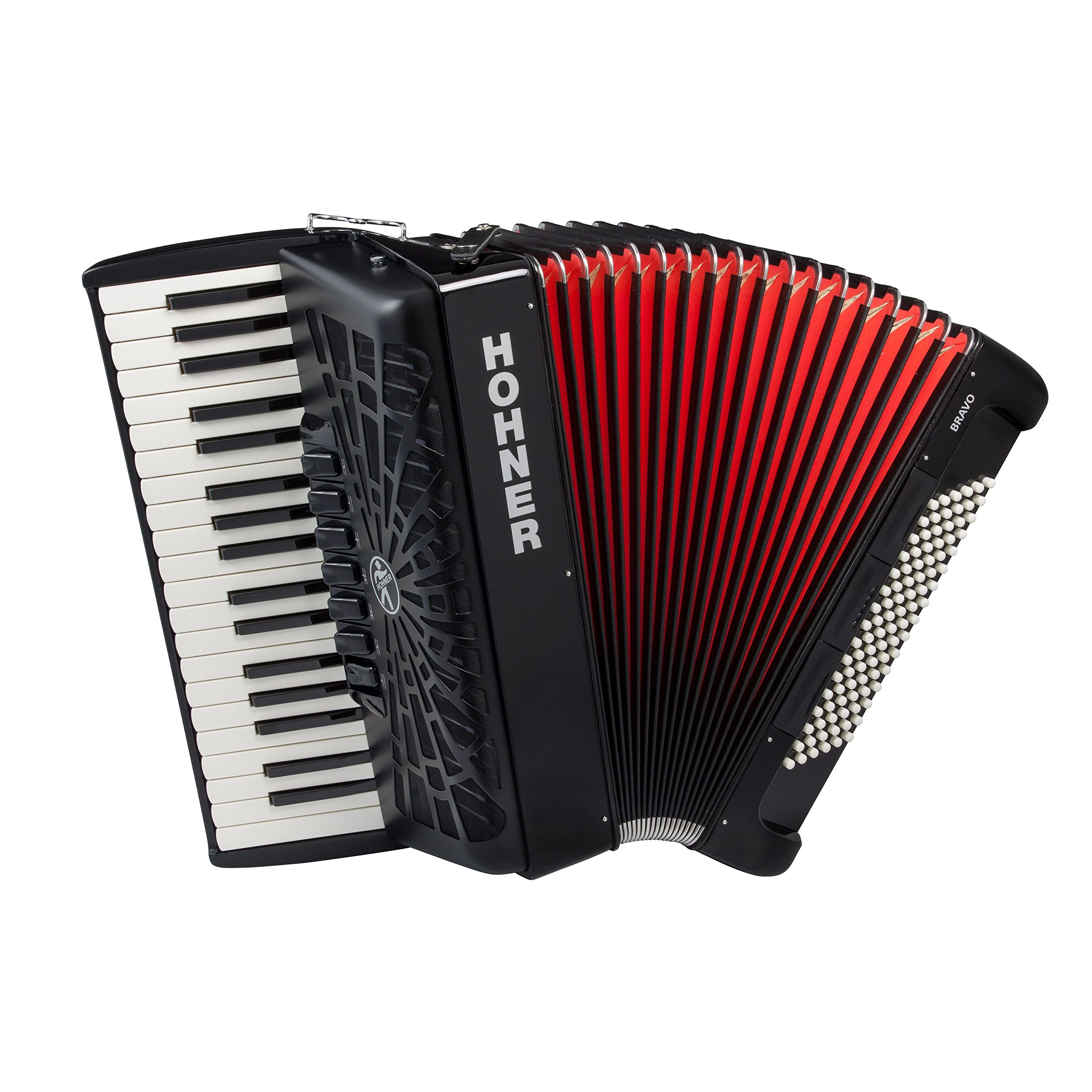 Hohner A16721S Bravo Line Facelift III -96 Bass Chromatic Piano Accordion with Gig Bag, Black by Hohner Accordions