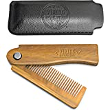 Folding Beard Comb w/Carrying Pouch for Men - All Natural Wooden Beard Comb w/Gift Box - Green Sandalwood Comb for…