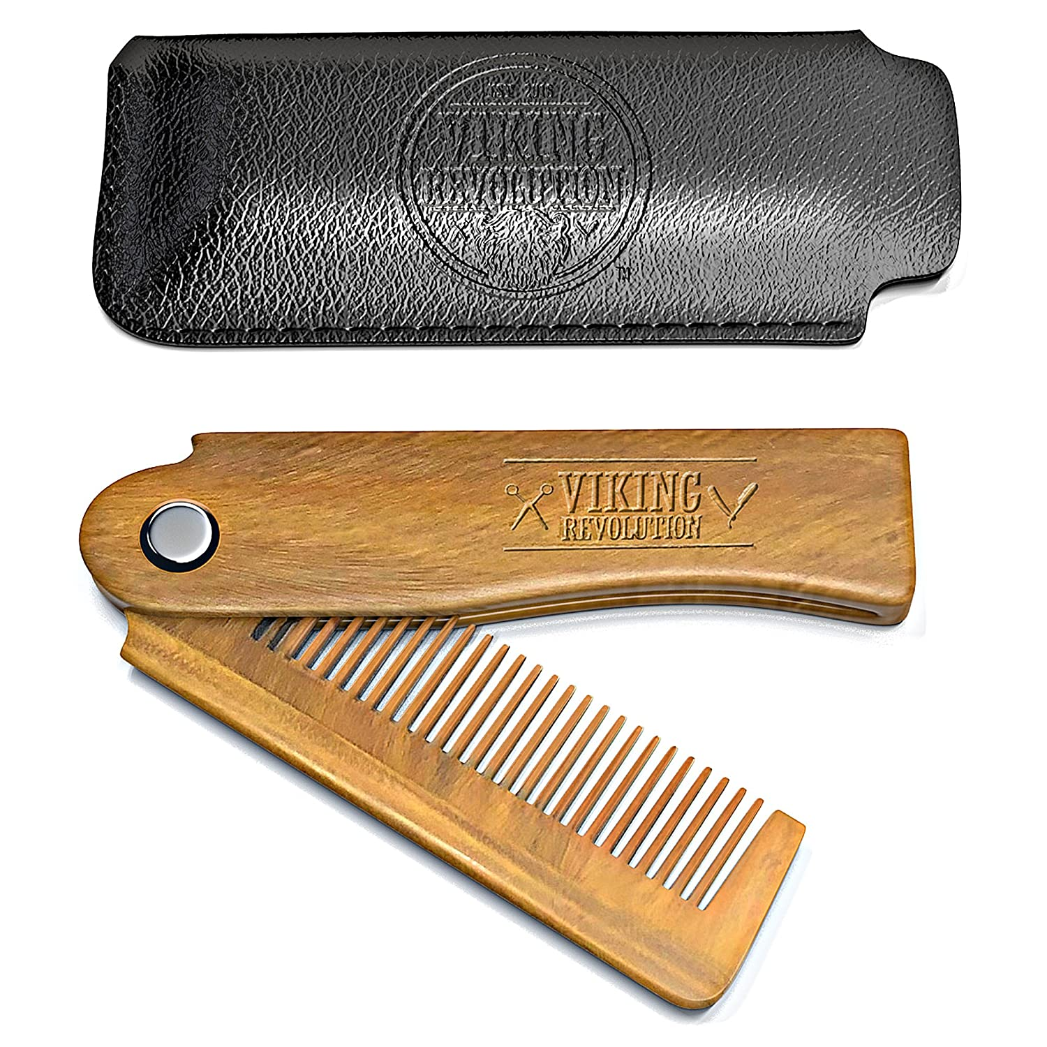 Folding Beard Comb w/Carrying Pouch for Men - All Natural Wooden Beard Comb  w/Gift Box - Green