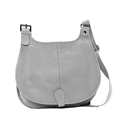 a63816fb7a Cuir-Destock sac à main bandoulière cuir grainé modèle lively gris clair -  nouvelle collection