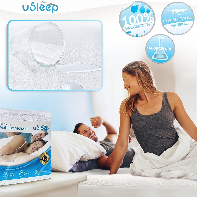 Protector de colchón impermeable y transpirable de uSleep, protección contra los ácaros, contra la humedad en caso de incontinencia, apto para personas ...