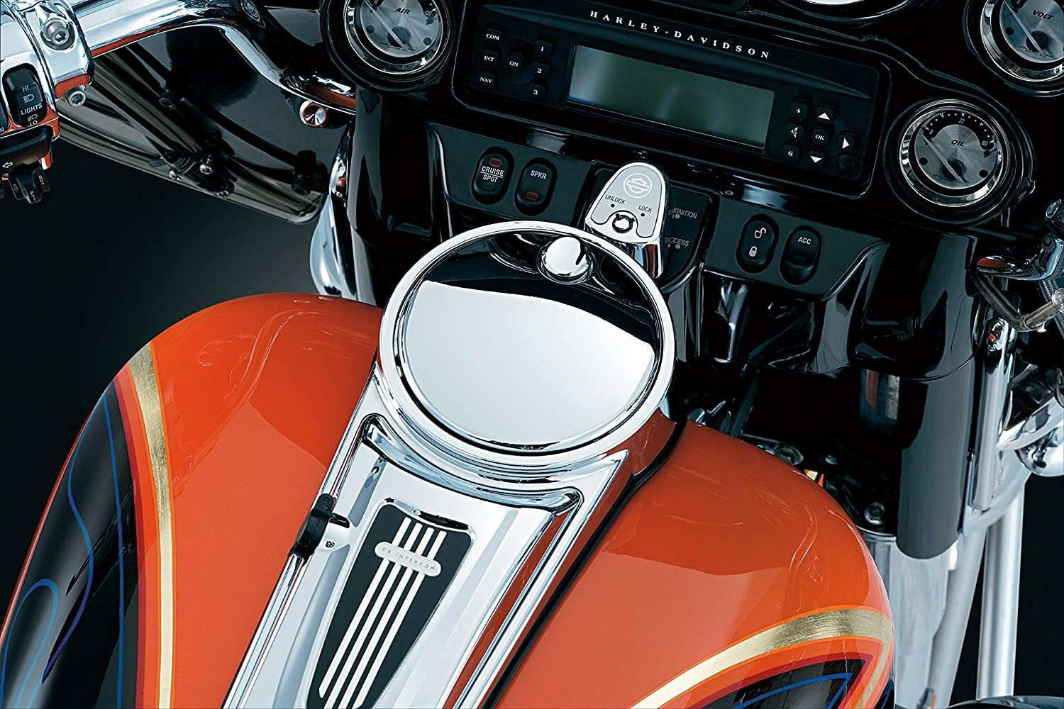 Kuryakyn 1467 Motorcycle Accessory Push Button Fuel Door//Panel Latch for 1992-2019 Harley-Davidson Motorcycles Chrome