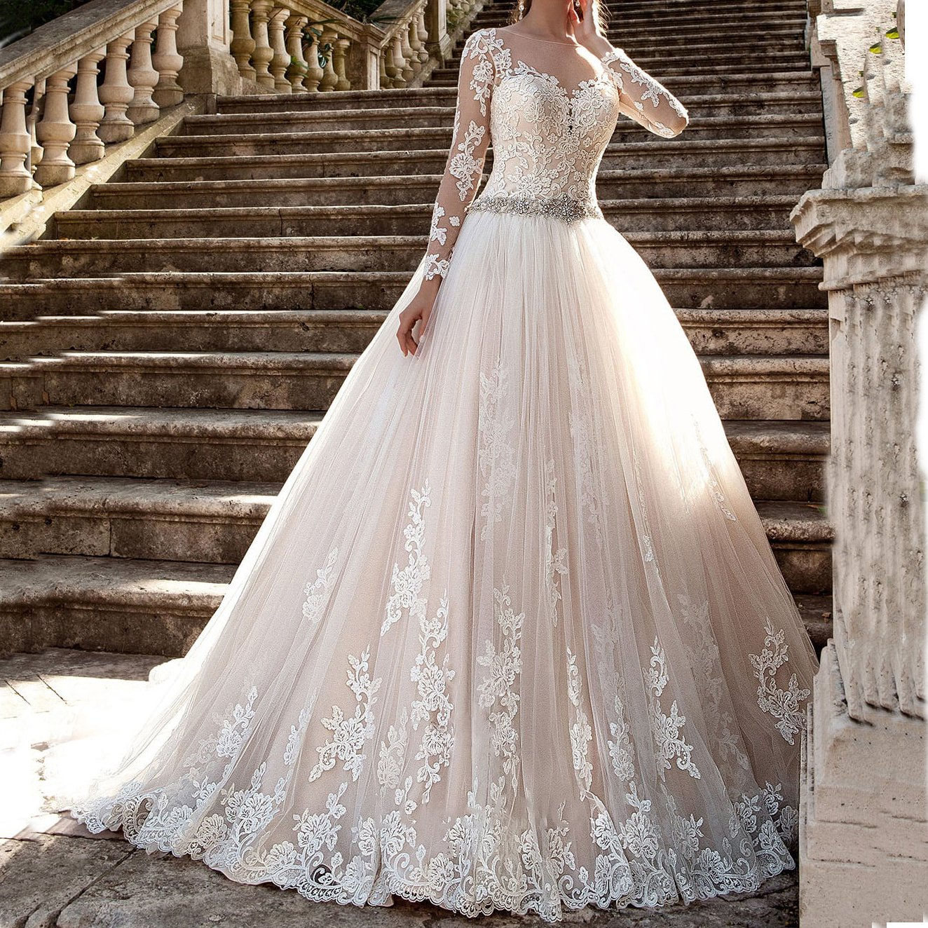 westcorler Luxury Wedding Dress Long Sleeves Ball Gown Lace Wedding Dresses (us14, Ivory) by westcorler (Image #2)