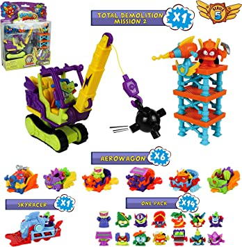 SuperZings Serie 5 - Total Demolition Mission 2 y Pack Sorpresa con 21 Sets | Contiene Blíster Total Demolition, 14 Sobres One Pack, 6 Aerowagons y 1 Skyracer | Juguetes y Regalos para Niños: Amazon.es: Juguetes y juegos