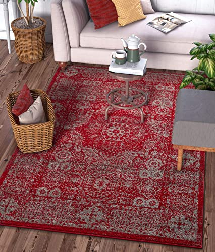 Well Woven Camila Medallion Red Distressed Traditional Vintage Persian Floral Oriental Area Rug 5×7 5'3″ x 7'3″ Carpet
