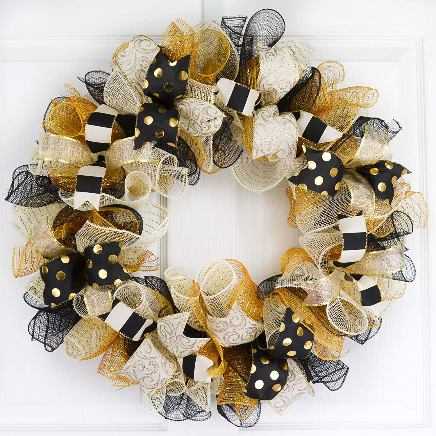 Amazon Com Black Gold Christmas Wreaths Gold And Black Decor