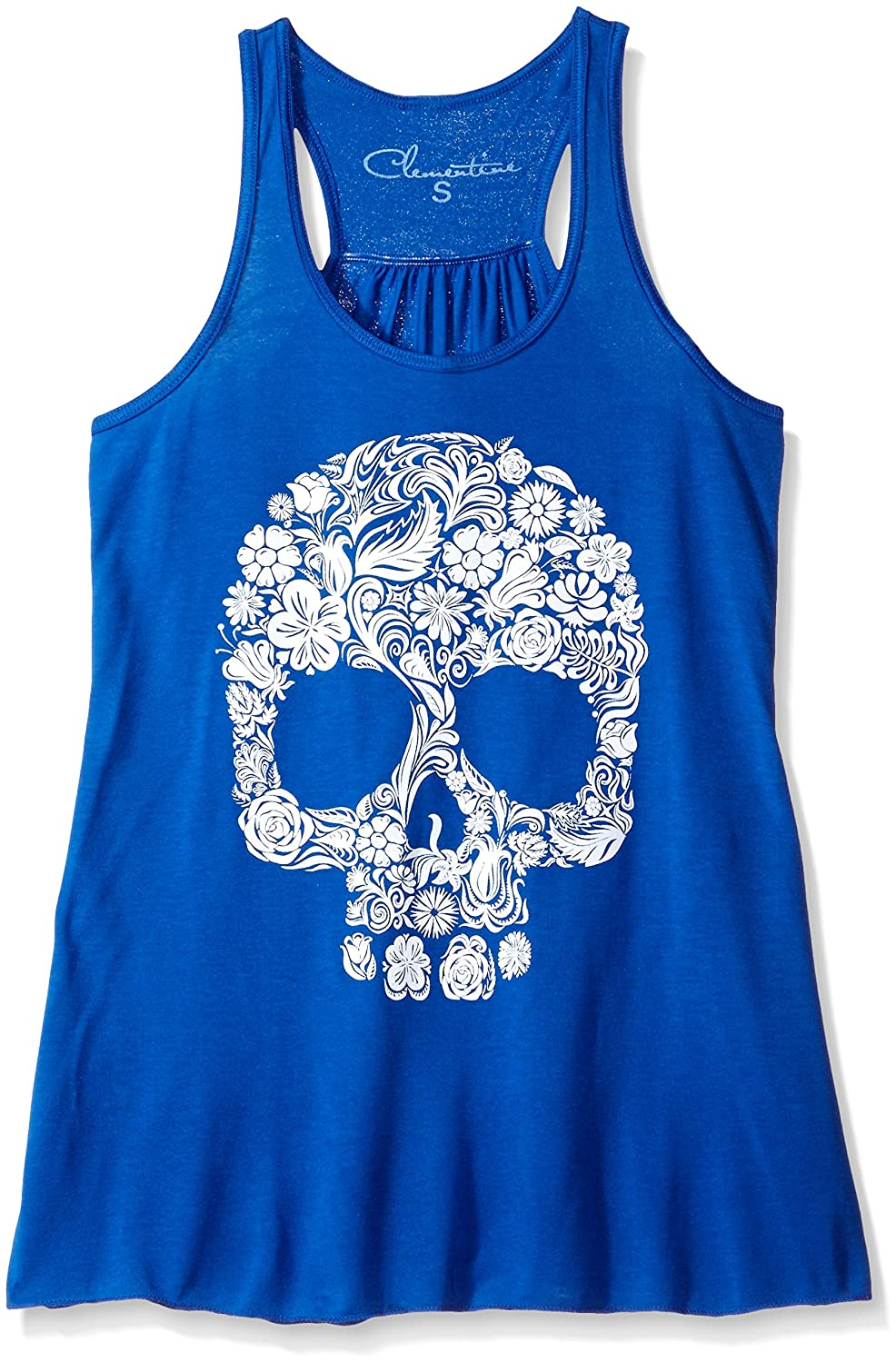 True Royal Clementine Apparel Womens Clementine Women Floral Skull Graphic Flowy Racerback Tank Tank Top Cami Shirt