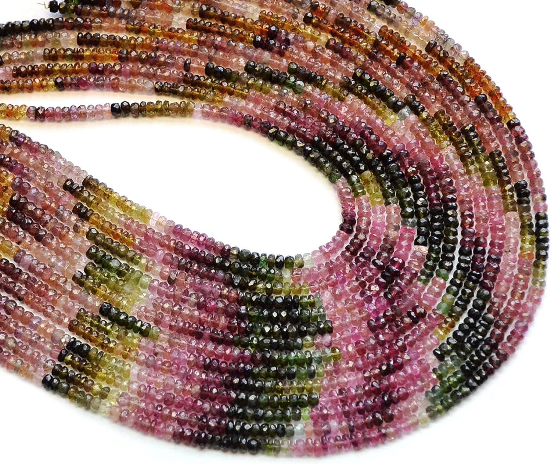 Neerupam Collection Perlas Sueltas Turmalina Natural rondelle facetas Semi Piedra Preciosa para la fabricación de Joyas Collar Pendiente de la Pulsera 2 mm 3 mm 4 mm 5 mm 6 mm 7mm 8mm