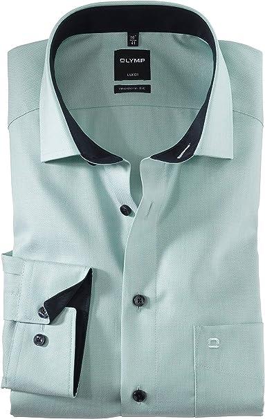 OLYMP Luxor - Camisa de manga larga con diseño moderno, color menta